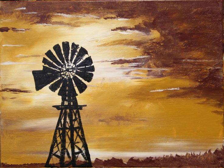 Stormy Windmill canvas painting from my classes from bakedgoodspottery.com