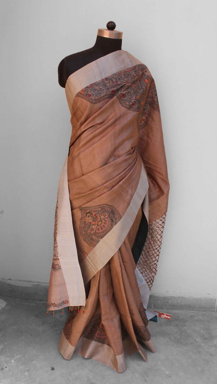 Madhubani painted silk saree with intersting woven palla