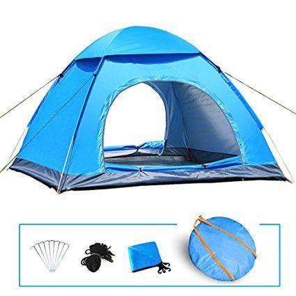 LIVEHITOP Automatica Tenda da Campeggio 3-4 Persone 200x200x125 cm, Anti UV Impermeabile Pop Up Istantanee Tendas Grande 2-4 Posti per Famiglia, Giardino, Spiaggia, Campeggio, Trekking, 78.7''x78.7''x53 ' '(Blu)