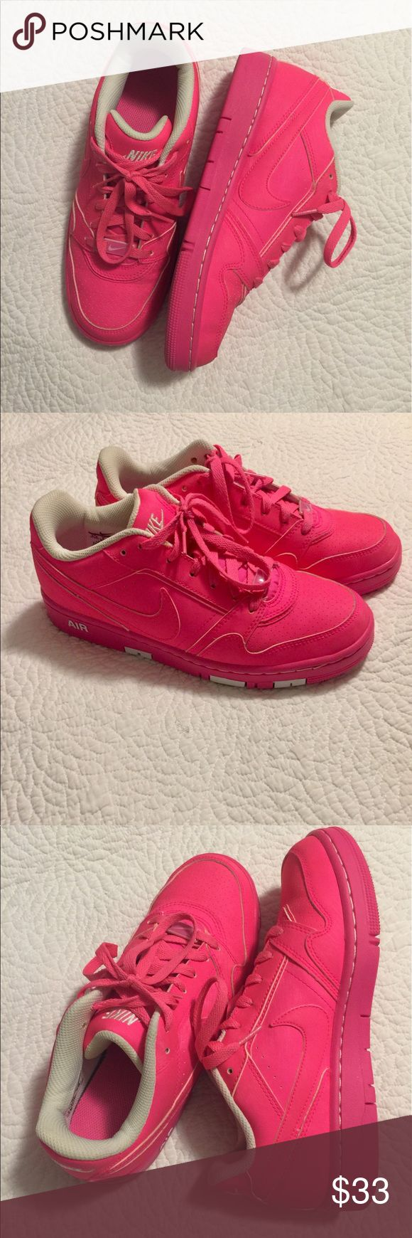 Nike Air Hot Pink Basketball shoes Great condition, barely worn,  pink and white Nike Air Basketball shoes.  If you like pink you will love these shoes. Nike Shoes Athletic Shoes
