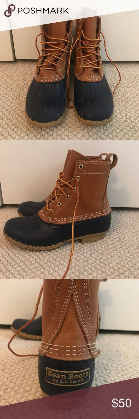 Classic L.L. Bean boots! Classic LL bean duck boots! In great condition gently worn! Navy and tan! Rubber on toe and leather! Great for all weather! L.L. Bean Shoes Winter & Rain Boots
