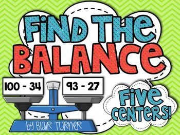Find the Balance! Equations and Inequalities Centers - help students understand the real meaning of the equal sign! $