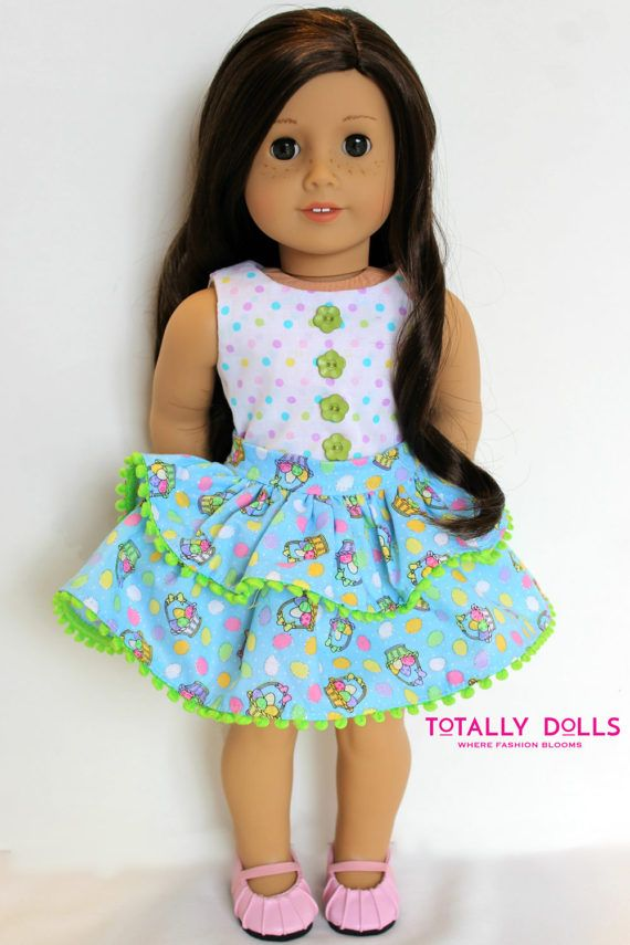"American Girl Doll Clothing Easter Crop Top and Layered Ruffle Skirt to fit 18"" American Girl Dolls by Totally Dolls"