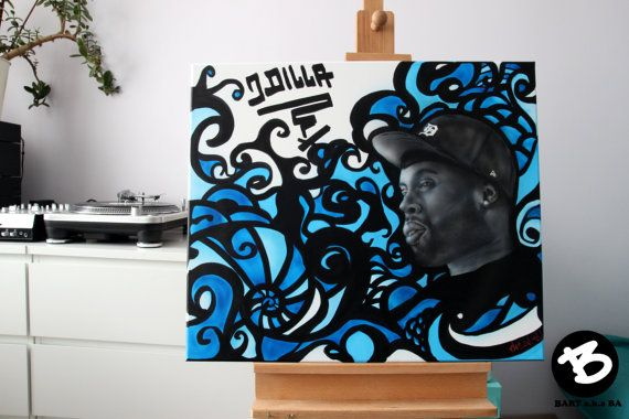 J Dilla, Jay Dee, James Yancey  Size: 27,5x23,6 (70x60cm)  Portraits on canvas. The painting continues onto the edges of the canvas, creating a finished look so the canvas does not require a frame.  Matte varnish has been applied to protect the surface of the painting. Satisfaction