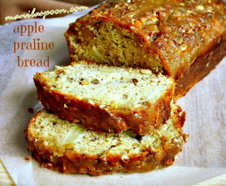 Manila Spoon: APPLE PRALINE BREAD - No butter or oil is used in the bread batter yet it is so moist and delicious. The big bonus is the lovely praline topping that is nutty and crunchy and truly yummy! Everyone loves this fantastic bread! <3