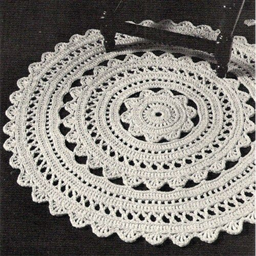 Crocheted Doily Rug PDF Pattern 36 in diameter Vintage 1960s