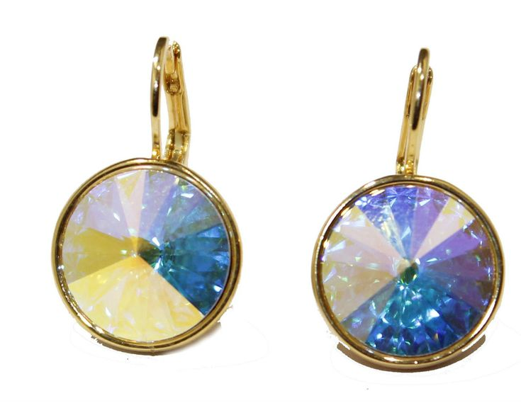 Swarovski Elements Aurora Borealis Bella Earrings Gold Plated Dangle