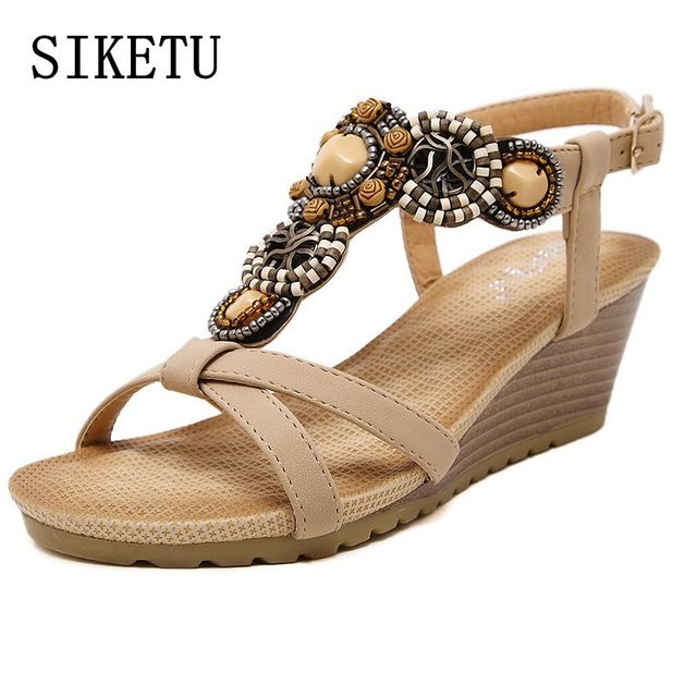 Buy now SIKETU Summer new fashion women sandals bohemian beaded casual  comfortable buckle slope woman sandals