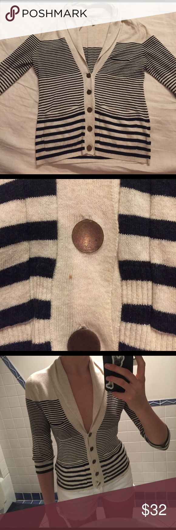 Joie Chic Striped Navy Nautical Cardigan Small S Super cute and very soft 3/4 sleeve cardigan by Joie. 100% cotton. Excellent condition. Note there is one tiny mark as shown in pic. Joie Sweaters Cardigans