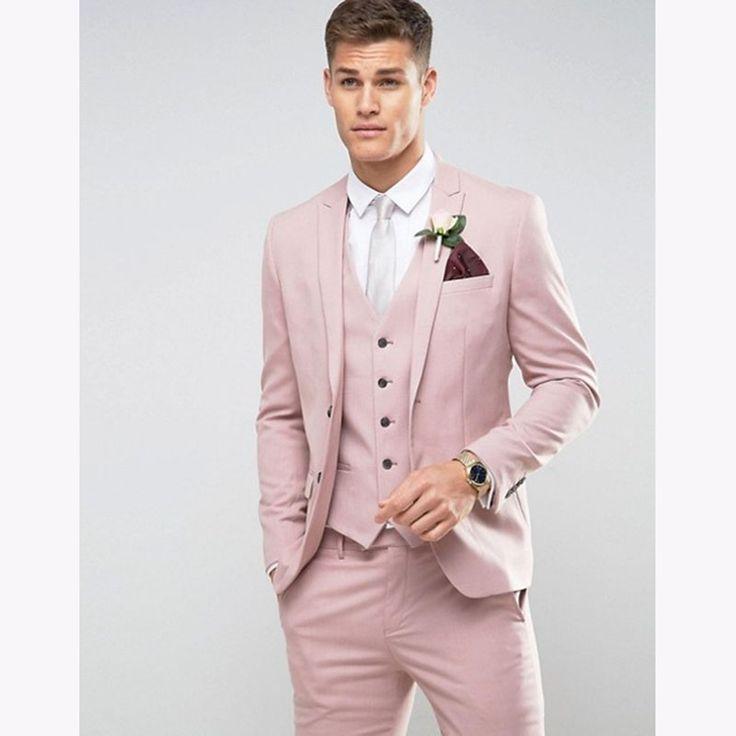 3 Piece (Jacket+Pants+Vest) 2017 pink men suit Slim Fit Terno Masculino Business Formal Groom mens tuxedo Wedding men's Suits