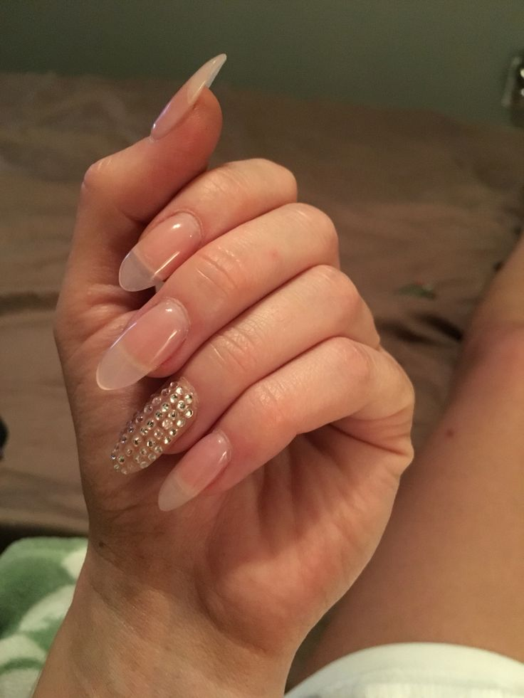 Studded long pointed nails
