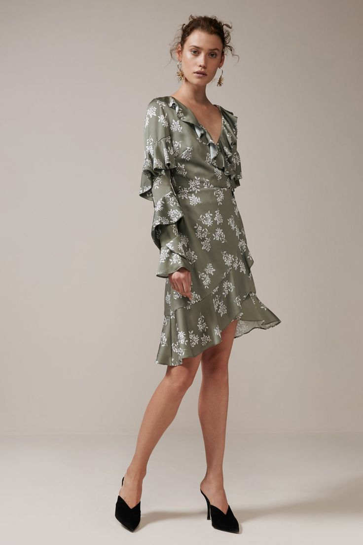 Keepsake - Love Bound Ls Wrap Dress- Sage Floral