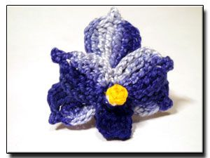 Blu Vanda Orchidea Modello di fiore del crochet