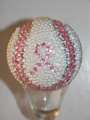 Decorated Baseball: breast cancer awareness with pink and silver crystals glued to the seams