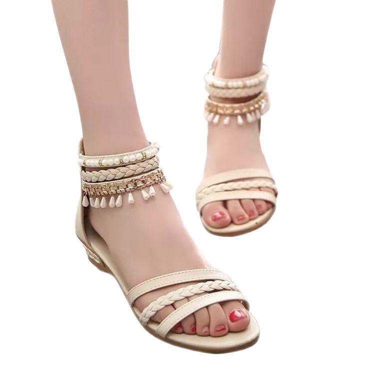 women sandals 2016 fashion Bohemia gladiator sandals women beading  sandalias mujer wedges shoes for women 2016