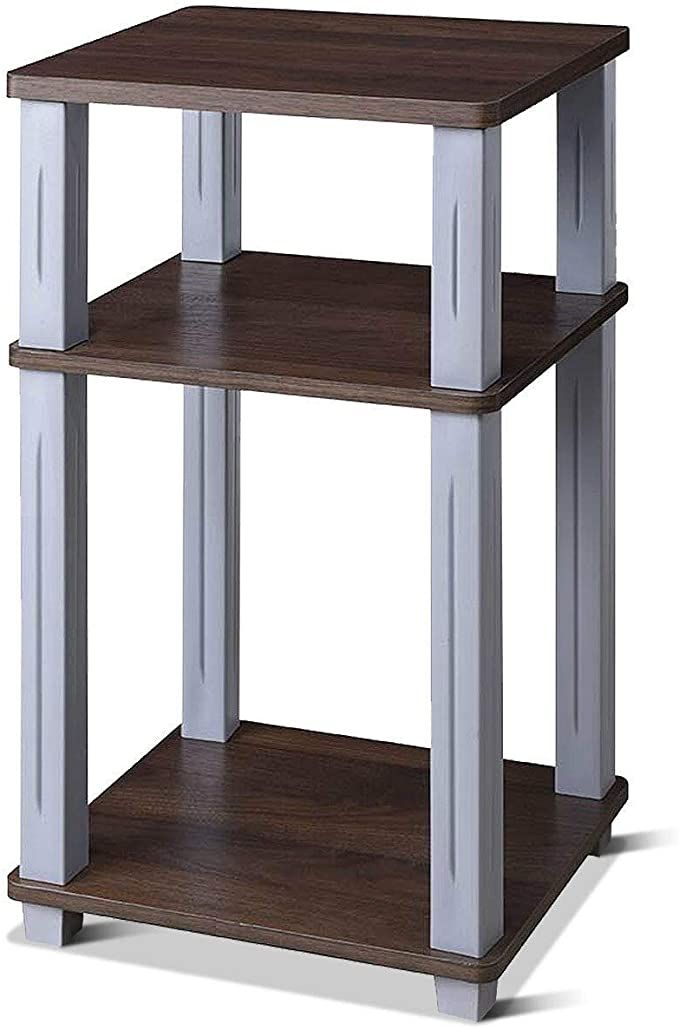 3 Tier Square End Table Shelf Stand Display Nightstand Shelving Multiple Usage Storage Rack Walnut With Ebook In 2020 Table Shelves End Tables Storage Rack