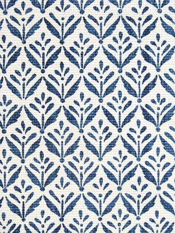 "Morrison Cobalt fabric - small blue print on white 100% heavy cotton slubby basket print. 2.5"" repeat. 54"" wide. $20 per yard"
