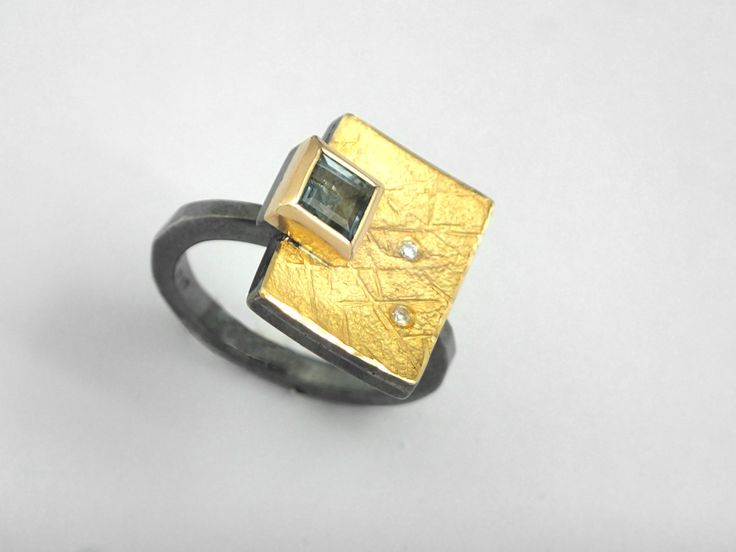 A golden book with a lock. An alternative geometrical precious ring with a square aquamarine stone and diamonds. by TomisCraft on Etsy