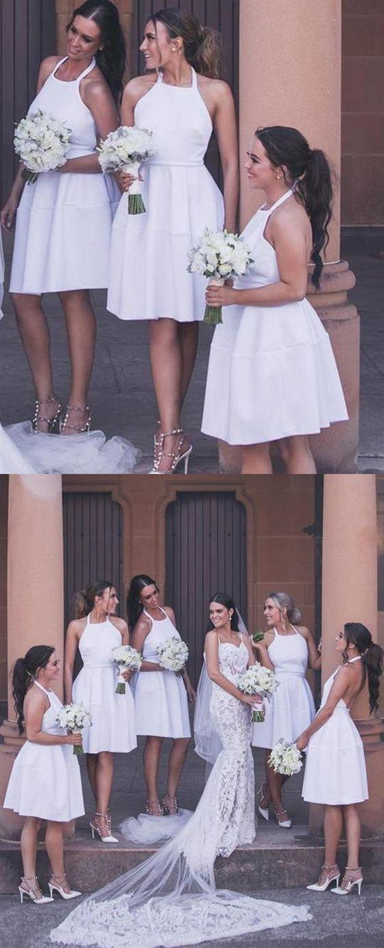 Simple White Halter Open Back Knee Length Bridesmaid Dresses