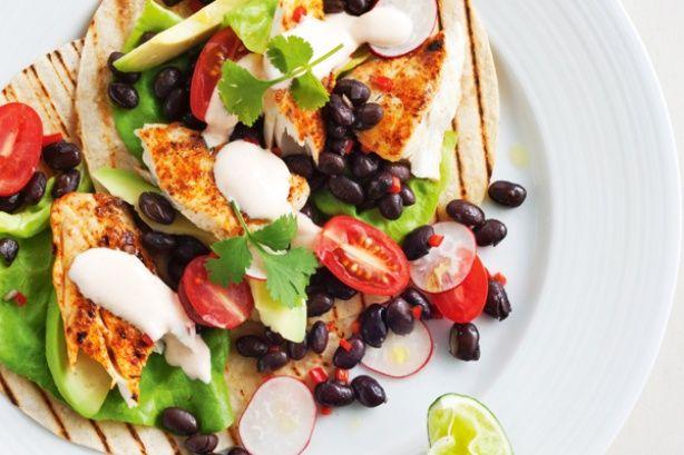 Fish Fajitas with Avocado and Black Bean Salad