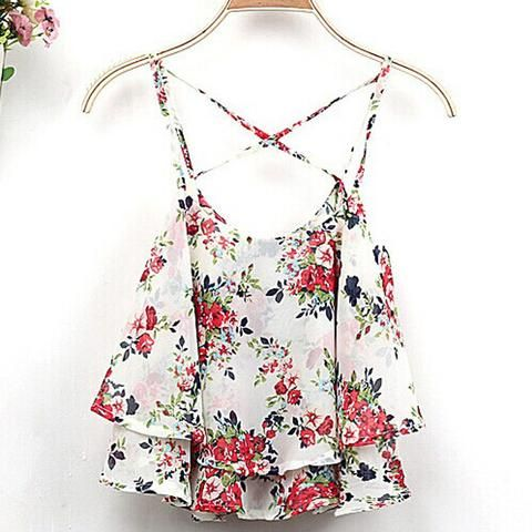Summer Crop Top Tank tops cropped Women  Casual Floral Printed Chiffon Shirt