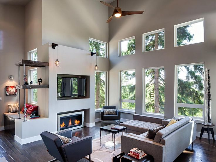 Sleek furnishings pair with recessed windows for a minimal modern look, while pendant lights and galvanized pipe shelves lend industrial character to the fireplace. http://electricfireplaceheater.org