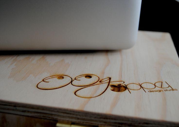 Laser-engraving on my custom-made plywood laptop case. Love my branding! #branding #laser #engraving #logo #laptop #case