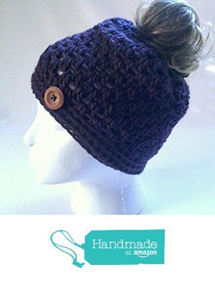 Handmade Messy Bun Hat Dark Purple Beanie Wood Button Pony Tail Holder Crochet Cloche from MoomettesMagnificents https://www.amazon.com/dp/B01N5KUFE3/ref=hnd_sw_r_pi_dp_mR7DybSGBWR5H #handmadeatamazon