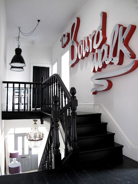 Industrial lights, black floor and detailLights, Black Staircas, Black Stairs, Neon Signs, Interiors, Black White, Vintage Signs, Letters, White Wall