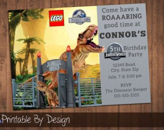 Lego Jurassic World Invitations Etsy