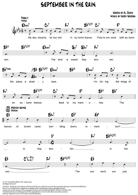 September in the Rain Sheet Music Preview Page 1