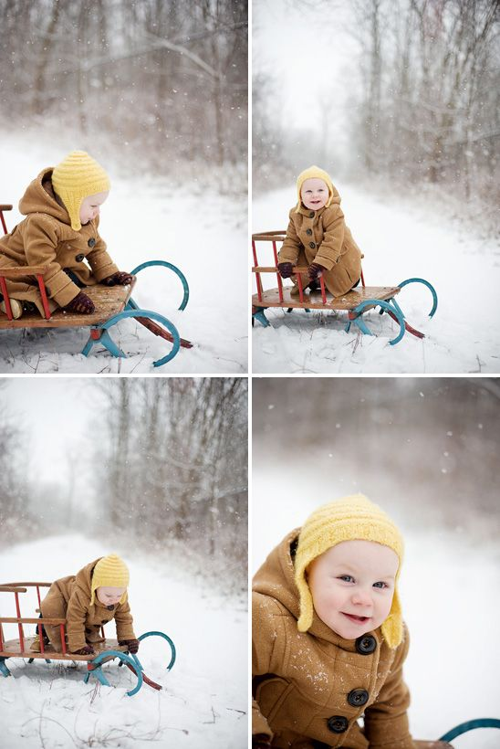 gorgeous snowy one year photo session at on to baby
