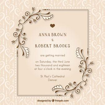 Vintage wedding invitation with floral details