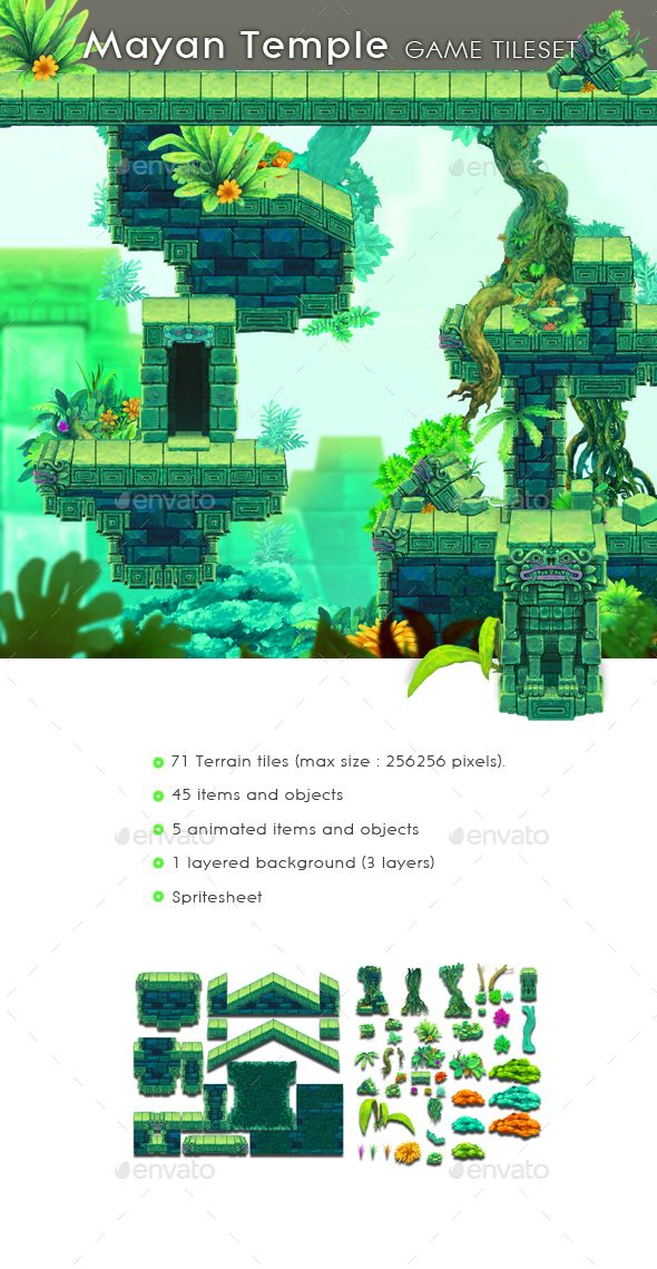 Mayan Temple  Game Tileset — Photoshop PSD #god #android • Available here → https://graphicriver.net/item/mayan-temple-game-tileset/17075827?ref=pxcr