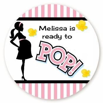 Ready to pop pink round personalized baby shower sticker labels pink popcorn personalized for Ready to pop popcorn labels