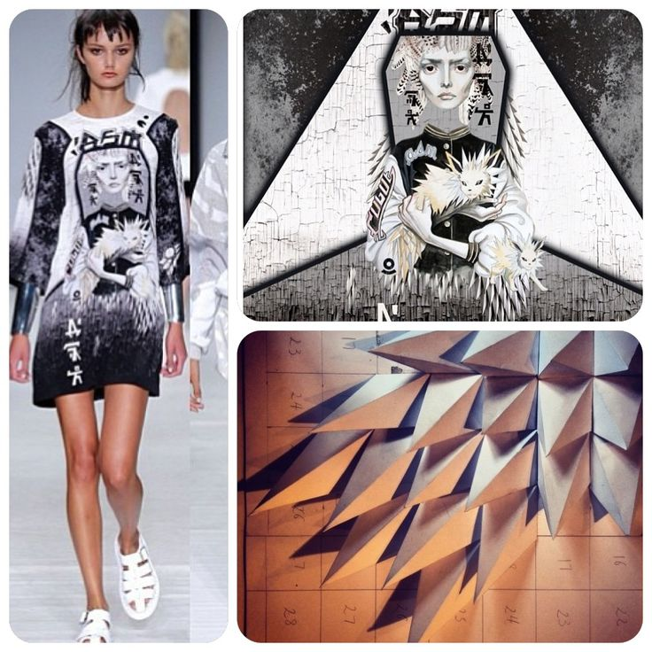 Anne Sofie Madsen SS14 print close up and my sample inspiration