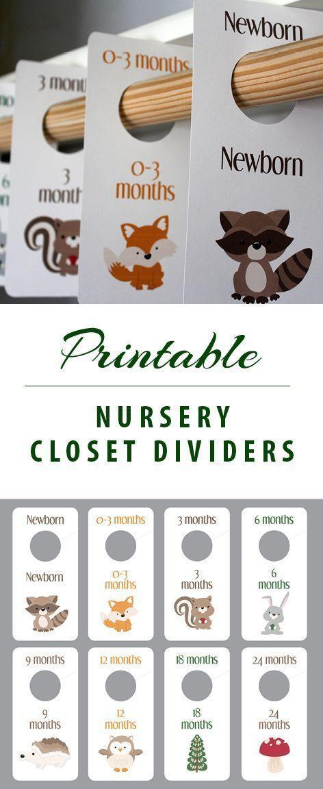 IMPRIMIR Woodlanders – divisor de armário do bebê – animais – berçário – quarto dos miúdos …   – Baby