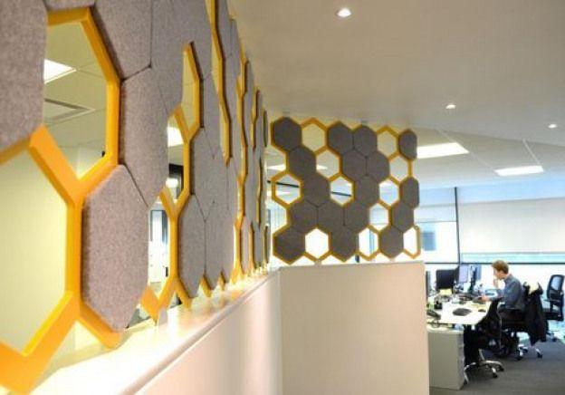 Leo Scarff Designhexagonal Acoustic Panels At Aon Insurance Dublin