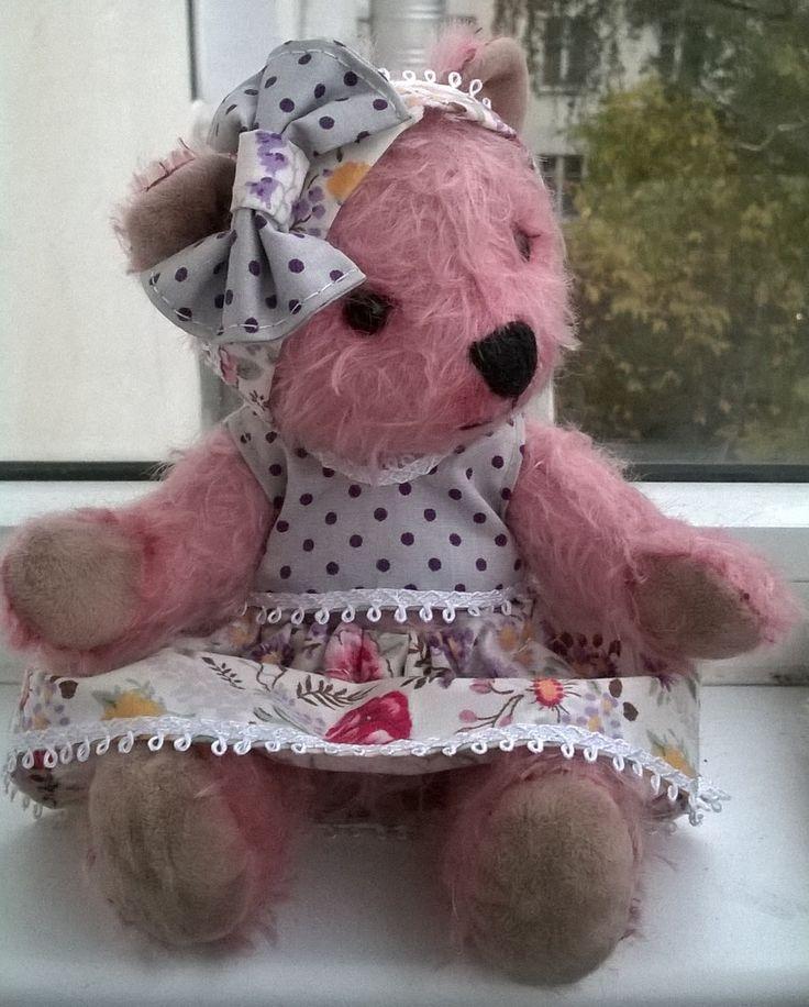 Розовый мишка. Ручная работа