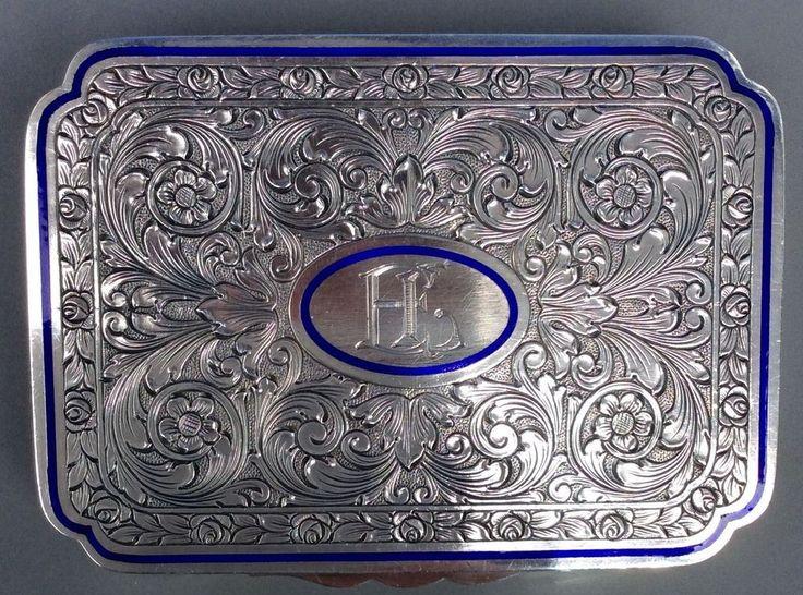 Tabatiere Schnupftabakdose Massiv Silber Silberdose, blauer Rand aus Emaille