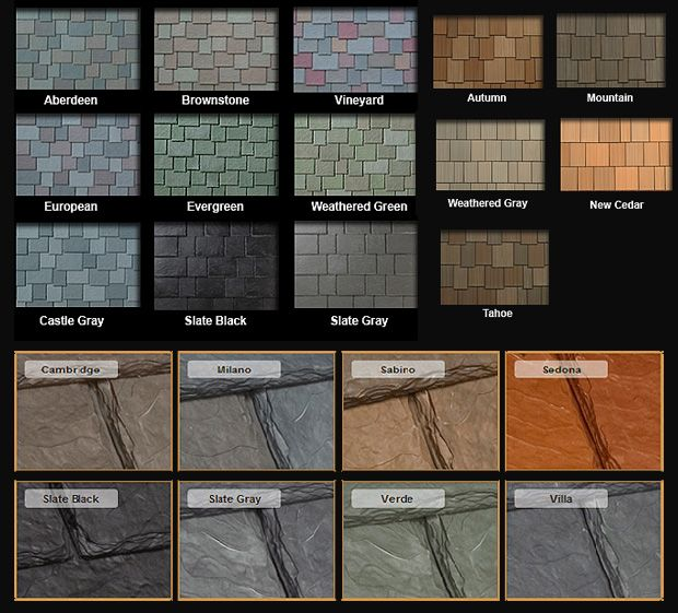 Synthetic slate roofing tiles
