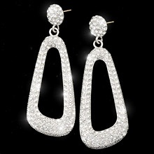 """Double Kockout    Swarovski crystal set in a rich finish makes these earrings a """"Double Knockout""""!    Available in a rich rhodium finish with Swarovski's clear crystals or a black hematite finish with Swarovski's black diamond and jet hematite crystals.    Earrings with 14K gold posts or adjustable clips  Nickel and lead free."""