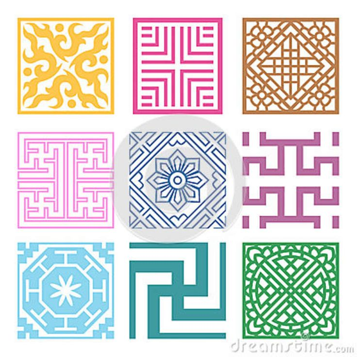 Abstract Art geometric grid | Plaid Symbol Sets. Geometric Pattern Design. Korean Traditional Stock ...