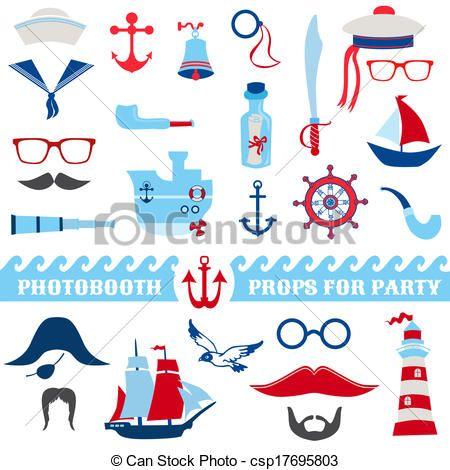 Clipart Vecteur de nautique, fête, ensemble, -, photobooth, appui verticaux, -,... csp17695803 - Recherchez des Images Graphiques Vecteur EPS, des Dessins, des Illustrations, des Cliparts