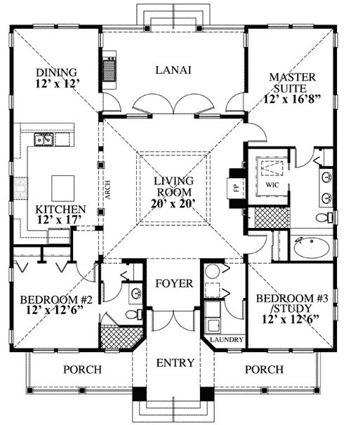 3 Bedroom Beach House Floor Plan on french country hallway