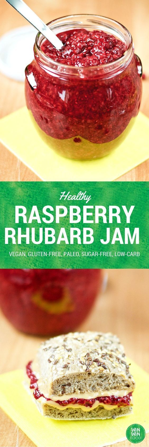 Healthy Raspberry Rhubarb Jam | WIN-WINFOOD.com #healthy #vegan #sugarfree…