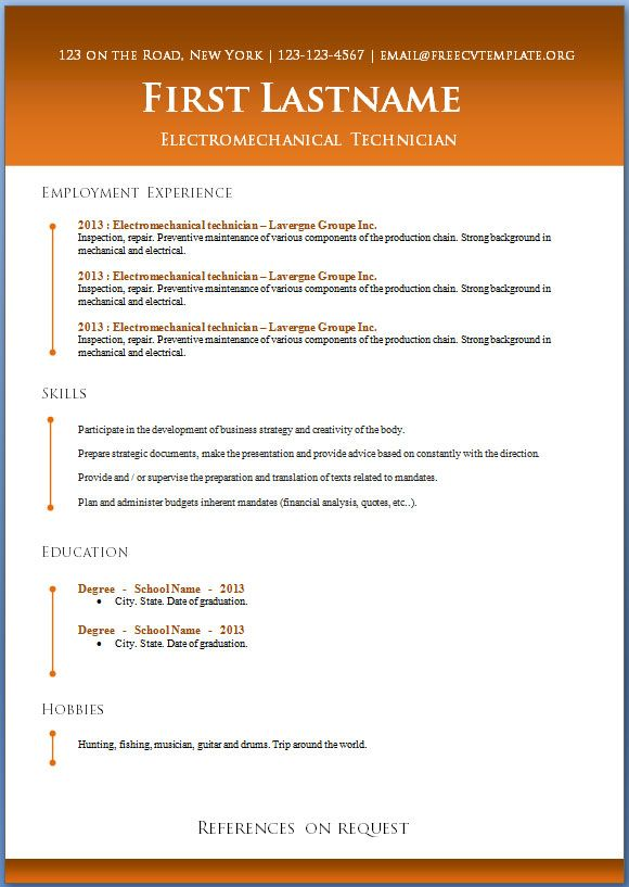 Resume Templates Microsoft Word 2013 19 Best Resumes & Cvs Images On Pinterest  Resume Templates Resume .
