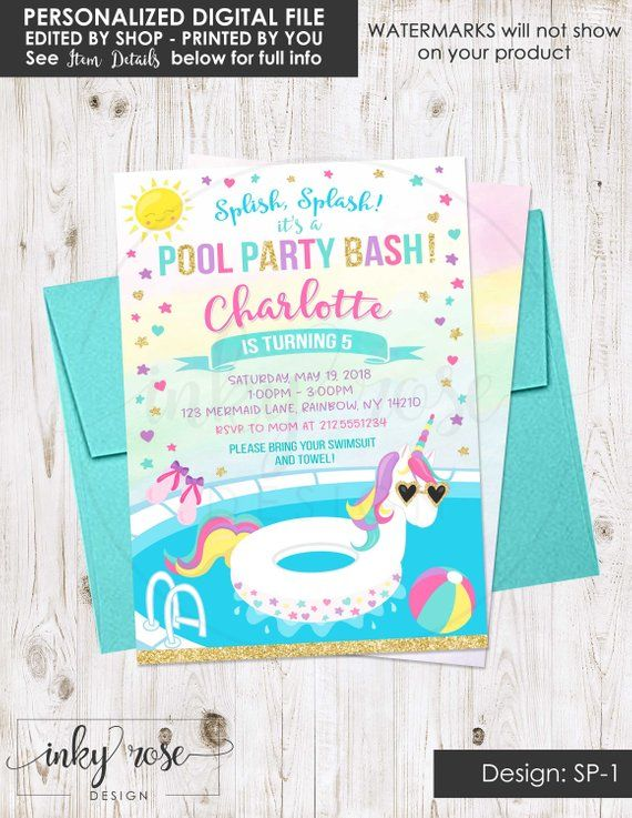 Unicorn Pool Party Invitation PRINTABLE Birthday Invite