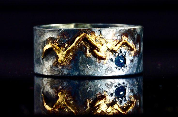 18K Gold Mountain Ring with Blue Diamond Lake Men's Wedding Band