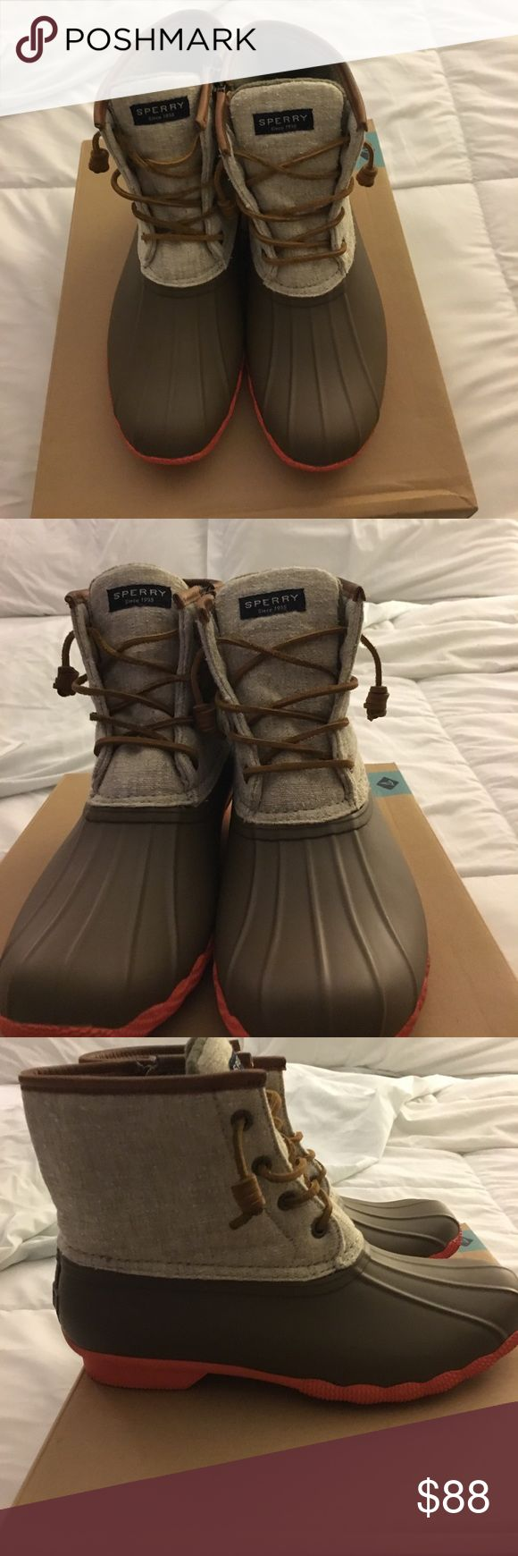 Sperry Saltwater Duck Boots Unique Women's Sperry Duck Boots, Worn once,  has a tiny scuff mark  on bottom of heel (see photo) other than the scuff  they are in Excellent,Execellent Condition!! (Box included) Sperry Shoes Winter & Rain Boots